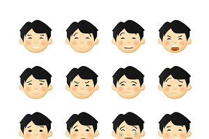 Asian man emoticons set