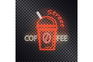 Street Coffee Neon Banner, Vector Illustration
