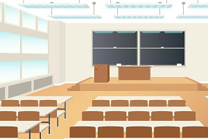 High school classroom interior scene
