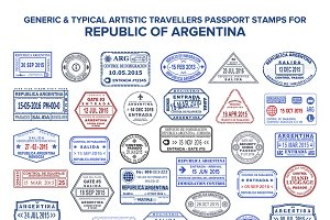 Agrentina visa passport stamps set