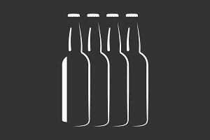 Beer bottles silhouette vector