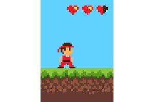 Video Game, Pixel Banner, Vector Illustration