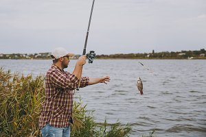 Side view Young unshaven man in checkered shirt, cap, sunglasses pulls out fishing pole with caught fish on lake from the shore near shrubs and reeds. Lifestyle, recreation, fisherman leisure concept