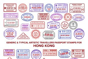 Hong Kong visa passport stamps set