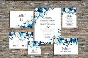 Navy Wedding Invitation Template SET