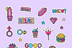Doodle girly party clipart set