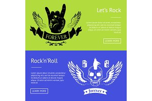 Let's Rock'n'Roll Collection of Colorful Banners