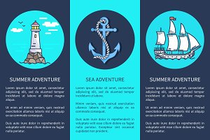 Set of Posters for Sea and Summer Adventures