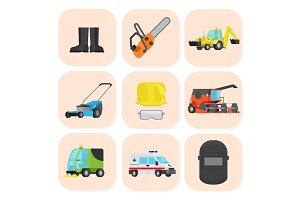 Industrial Equipment and Special Machine Icons Set