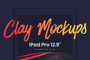 """20 iPad Pro 12.9"""" Clay Mockups"""