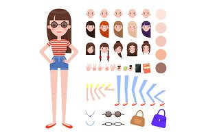 Girl in Summer Outfit and Sunglasses Constructor