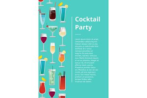 Cocktail Party Poster with Set of Tropical Drinks