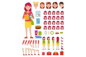 Young Girl Construction Set Vector Illustration