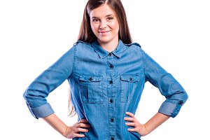 Girl in denim shirt, young beautiful woman, studio shot