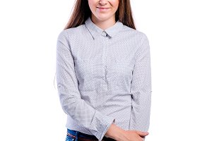 Girl in dotted shirt, young beautiful woman, studio shot