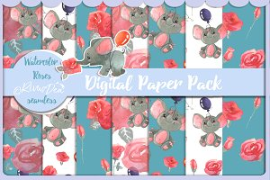 Digital paper pack with elephants