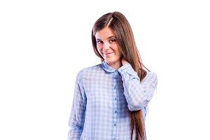 Girl in blue shirt, young beautiful woman, studio shot