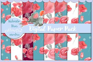 Seamless pattern paper pack w roses.