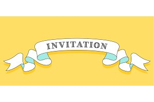 Invitation. Vintage trendy ribbon
