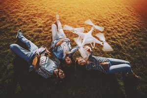 Group of multi-ethnic friends, drone