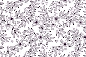 Black and white flowers pattern