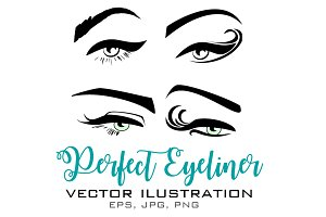 Perfect Eyeliner Vector Illustration