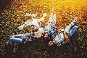 Interracial group of friends, drone