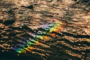 Colorful rainbow reflecting on a bar