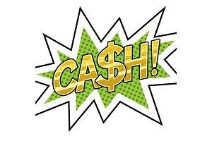 Cash word comic book pop art vector illustration