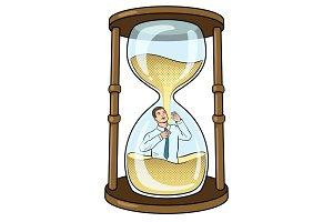 Sand watch glass with man pop art vector