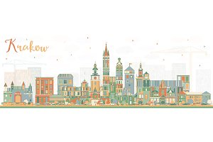 Krakow Poland City Skyline