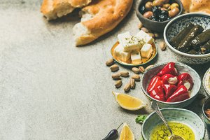 Mediterranean or Middle Eastern meze starter fingerfood assortment, wide composition
