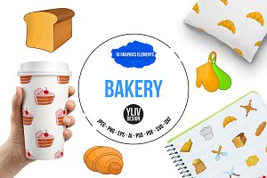 Bakery icons set, cartoon style