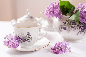 Tea table decorated with Lilac
