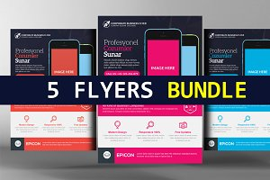 5 Mobile App Flyers Bundle