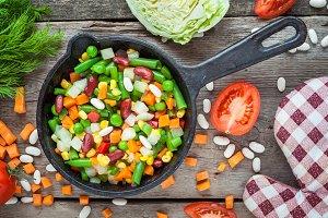 Vegetables in vintage frying pan