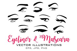 Eyeliner and Mascara Eye Vector
