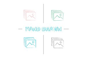 Digital images, photos hand drawn icons set