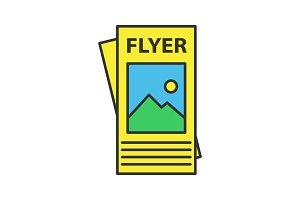 Flyer mockup color icon