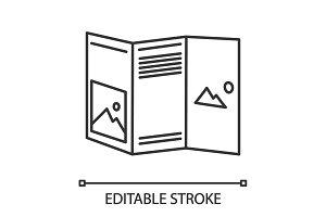 Folded brochure mockup linear icon