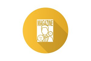 Magazine flat design long shadow glyph icon
