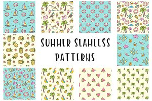 Doodle summer seamless patterns