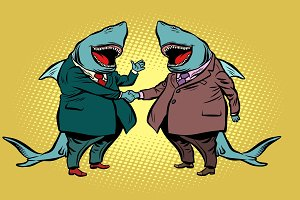 businessman shark business partnership