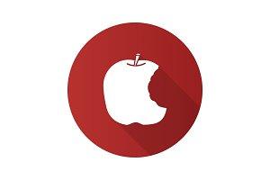 Bitten apple flat design long shadow glyph icon