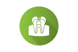 Caries flat design long shadow glyph icon