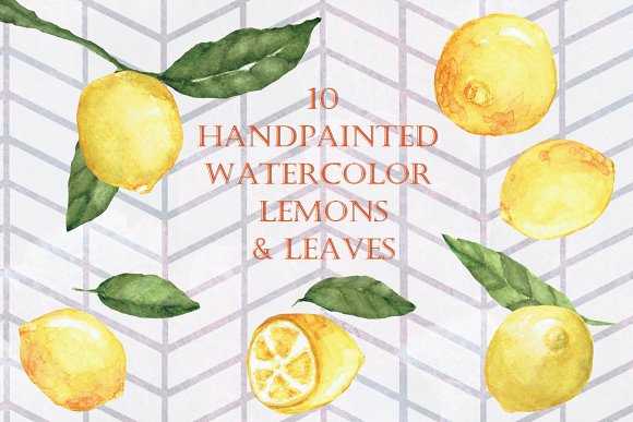 Hand painted Watercolor Lemons