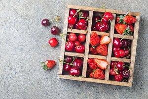 Berries in vintage wooden box