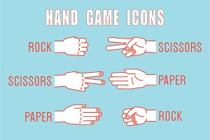 Rock, Scissors, Paper. Hand game.