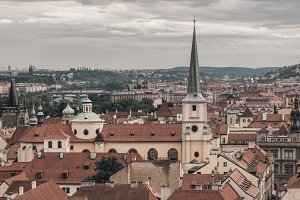 View of historical Prague cityscape.