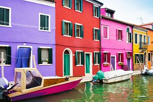 Colorful houses in island Burano, Venice, Italy